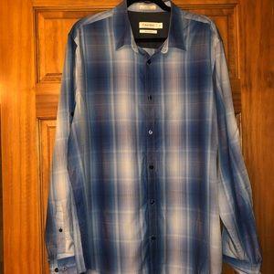 NEW Calvin Klein Blue Plaid Dress Shirt